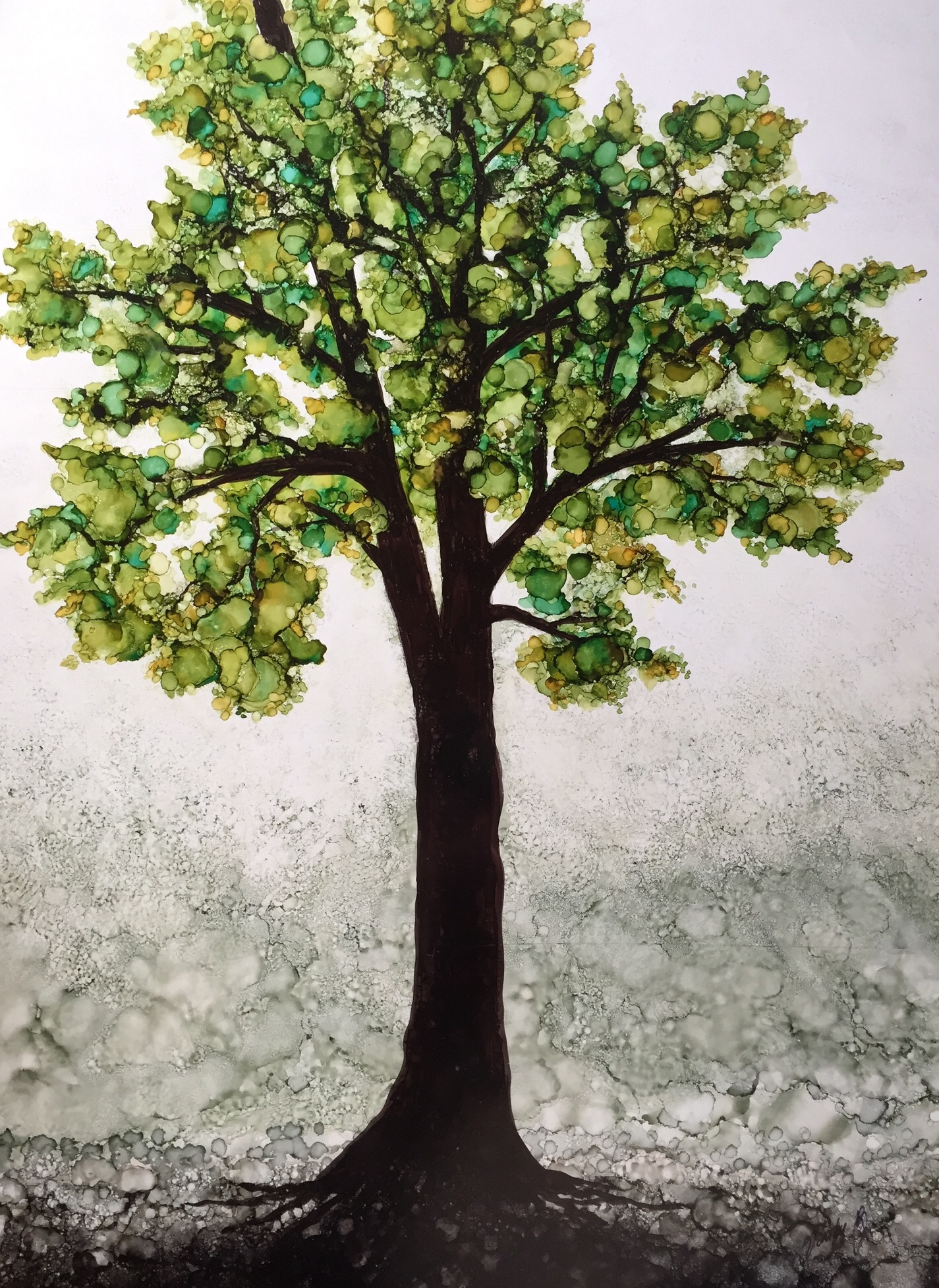 Green alcohol ink tree 16x20